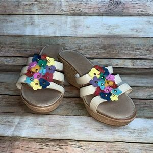 Italian Shoemaker Wedges With Multicolored Flower